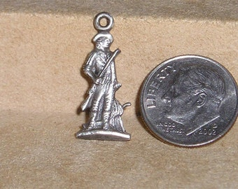 Vintage Sterling Silver Minute Man Charm Or Pendant Army Militia Soldier 1970's Signed Jewelry 7017