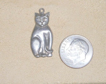 Vintage Sterling Silver Cat Charm Or Pendant Kitten 1960's Signed Jewelry 3093