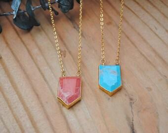 Handmade Gold Brass Howlite Pendant Necklace