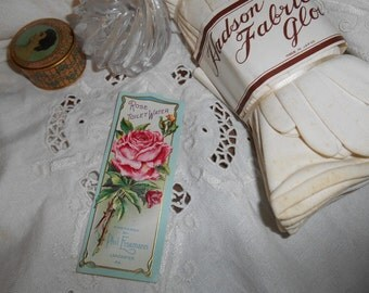 Lovely Victorian Gilded Embossed Lithograph Rose Toilet Water Perfume Label Original 1900