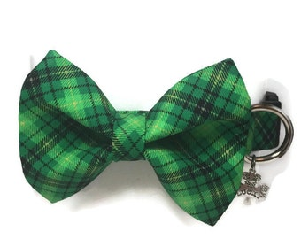 St. Patty's Plaid Bow Tie Dog Collar size Extra Large