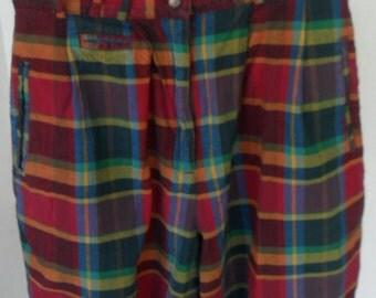 Vintage Shorts Plaid Madras High Waist Golf Cotton Size 10