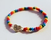 Rainbow LGBT Gay Lesbian Pride Heart Bracelet Valentines Day Gift