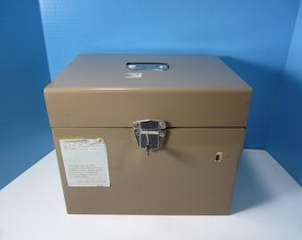 Large Metal Personal File Box, Herald Square, Tan Metal Box, Extra Large Box, Sturdy Steel, Industrial Metal Box,  Mid Century File Box