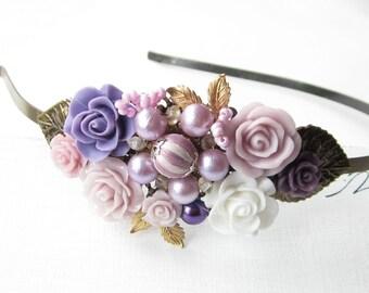 Haarreif,vintage,hair band,head band,Wedding,Bridal Headband,flower Hairband, Floral Head Piece, Romantic Flower, Boho Wedding,Woodland Chic