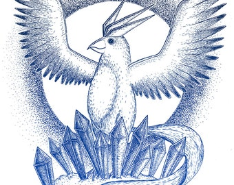Articuno- A3 Team Mystic pokemon inspired art print by Jon Turner- FREE WORLDWIDE SHIPPING