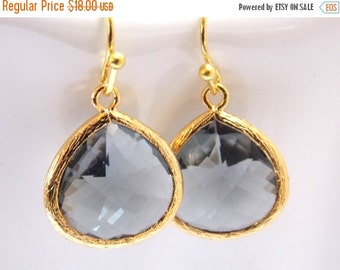 SALE Glass Gray Earrings, Grey Earrings, Gold Earrings, Charcoal Earrings, Wedding, Bridesmaid Earrings, Bridal Jewelry, Bridesmaid Gifts