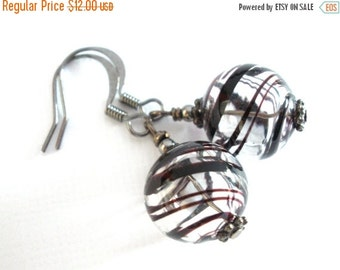 SALE Lampwork Hollow Earrings, Hand Blown Glass Earrings, Black Earrings, Brown Earrings, Black and White, Clear, Transparent