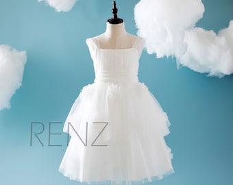 2016 Off White Junior Bridesmaid Dress Bow, Draped Mesh Flower Girl Dress with Straps, Square Neck Children Dress Floor Length (HK135)