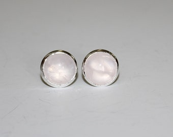 Natural Rose Quartz Silver Plated Stud Earrings Stone