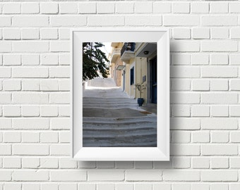 Sea of steps, travel photography, Greece islands photo, Mediterranean decor, Andros stairs, Greek architecture, countryside print, wall art