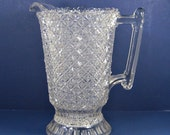 Antique PRESSED GLASS PITCHER Scalloped Rim Quilted 4 Point Star Pattern Tiny Bubbles