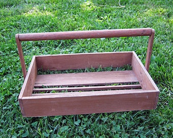 Vintage STRAWBERRY BASKET Rustic Wood Crate Strawberries Berry Garden Trug