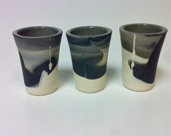 Set of Four Pottery Shot Glasses. Handmade Ceramics. Modern Kitchenware. Tableware. Dinnerware.