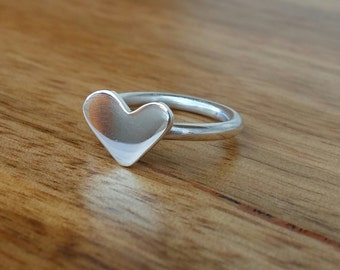 Sterling Silver with sterling silver heart top Stacking Ring - Made to Order