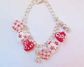 Bracelet/Lampwork Heart/Pink/Red/White/Rhinestone Spacer Beads/Glass Pearl Rondells/Valentines Day