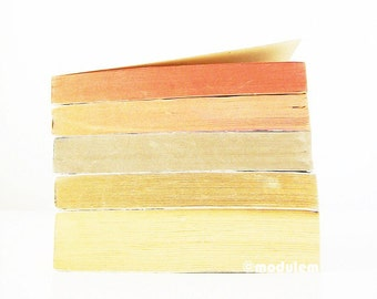 Stacked Books Print - An Afternoon in Aberdeen - faded photography, orange, beige, golden, brick, ochre, fall hues, 8x8, 8x10