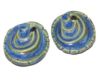 Ceramic Earring Charms Pair Rustic Stoneware Pottery