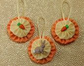 Gray Bunny and Carrot Easter Ornament Set 3 pc