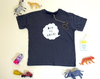 Kids Clothes Dark Grey T-shirt Welsh Text Dim Fi Nath White