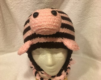 Crochet Turtle Hat in Brown and Pink
