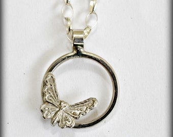 Sterling silver butterfly necklace.  handmade  solid sterling silver