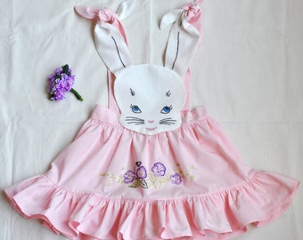 Girls Vintage Inspired Bunny Pinafore Size 2/3