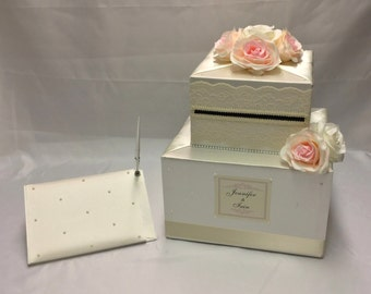 Ivory Lace wrapped Wedding Card Box and matching Guest Book with Blush/Ivory Roses-Pearl Accents