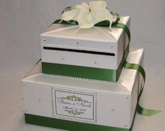 Elegant Wedding Card box-White and Clover Green-White Calla Lilies-Rhinestone accents