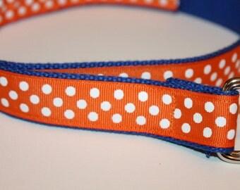 Adjustable Ribbon Belt Kids Orange and Blue Polka Dots Belt Orange Polka Dot D Ring Belt Royal Blue and Orange Belt