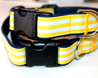 Striped Dog Collar Matching Leash Yellow and Navy Leash and Collar Set Yellow Stripe Dog Collar Summer Dog Collar Spring Dog Collar