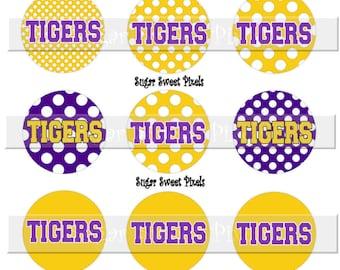 INSTANT DOWNLOAD Tigers Purple Gold  polka Dot 1 inch circle digital Bottlecap Images