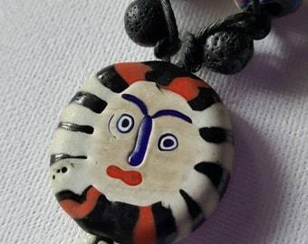 Quirky necklace, vintage beads, face bead necklace, unisex necklace, hemp macrame necklace