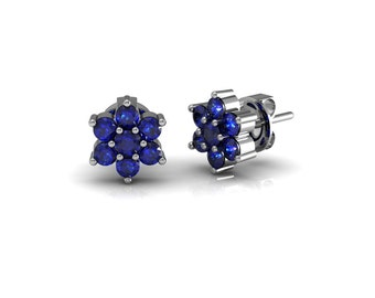 Sapphire Emerald Ruby Blossom Stud Earrings in 14k White Gold| made to order for you within 5-7 business days
