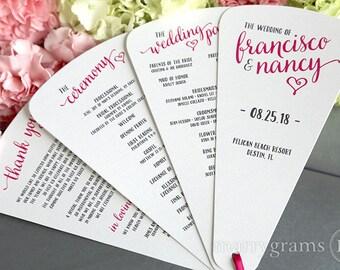 Wedding Program Fans 4 Blade Petal Programs w Satin Ribbon - Customizable Elegant Programs - Summer Wedding Custom Colors Heart CUSTOM Print