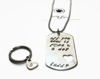 All You Need Is Love & a Dog Dogtag Necklace with Initial Heart Charm for your small Furbaby - Rescue jewelry, dog jewelry, doglovers