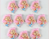 SALE 10pcs Bubble Guppies Molly Girl Inspired Star Resin Cabochons Flatbacks Flat Back Girl Hair Bow Center Photo Frame Crafts DIY.