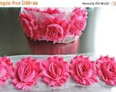 ON SALE HOT Pink Chiffon Flowers / 1/2 Yard or 1 Yard Shabby Flower Trim / Headband Flower / Wholesale Fraying Rosettes Chiffon Trim Flower