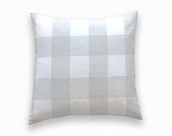 French Grey Buffalo Check Throw Pillow Cover. Gray and White Gingham. Plaid Decorative Cushion Cover.