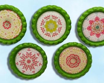 magnets, Mandala, green, pink, patterns, bottle caps