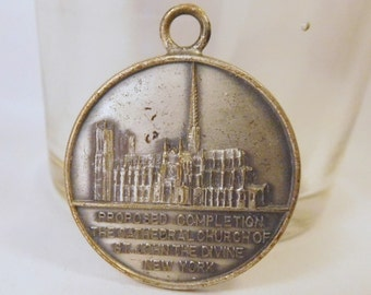 """Vintage St. JOHN the DIVINE CATHEDRAL Church - New York and Saint St. Christopher """"Be My Guide"""" Medal - Pendant - Silver Tone - in Relief"""