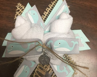 Burlap Baby Bootie Corsage with whales
