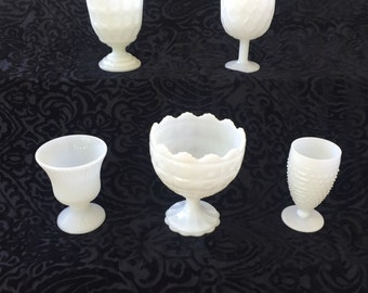 Vintage Milk Glass Compotes - Instant Collection - Set of 5 - Wedding Decor Centerpiece - Milk Glass Vases
