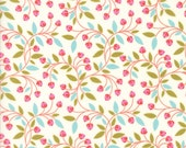 Colorful Floral Berry Fabric on White - Wing & Leaf by Gina Martin from Moda - Fat Quarter