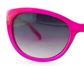 Vintage Women Sunglasses Neon Pink with Grey Lenses Eyeglass Frames Eyewear