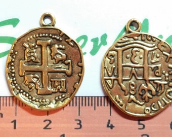 6 pcs per pack 28mm Reversible Spanish Colonial Oval Coin Charm Antique Gold Lead free Pewter