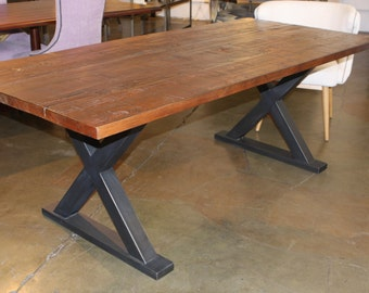 Metal X Base Dining Table