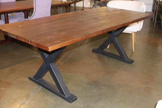 Items Similar To Metal X Base Dining Table On Etsy