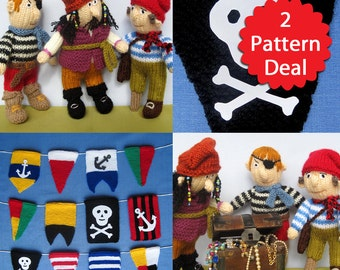 Pirate 2 pattern deal - bunting pennant flags and toy doll knitting patterns - PDF INSTANT DOWNLOAD