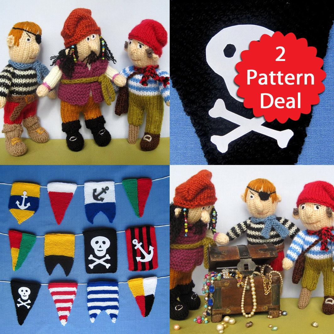Knitting Pattern Pirate Jumper : Pirate 2 pattern deal - bunting pennant flags and toy doll knitting patterns ...